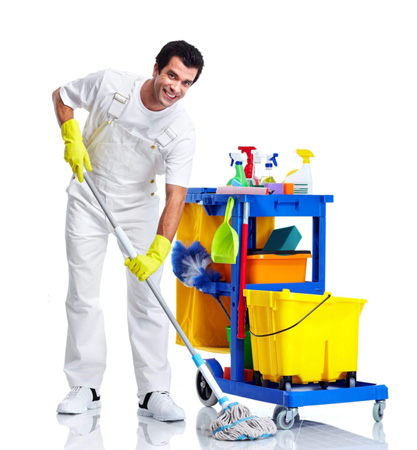 image of janitor cleaning